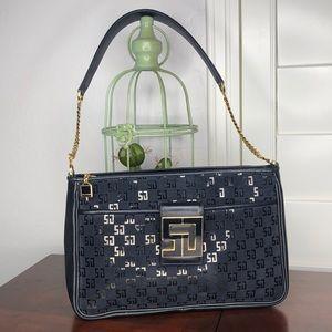 St. John Black Leather & Suede Signature Handbag